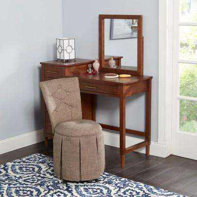 Smith Brown Skirted Swivel Vanity Chair with Diamond Tufted Back