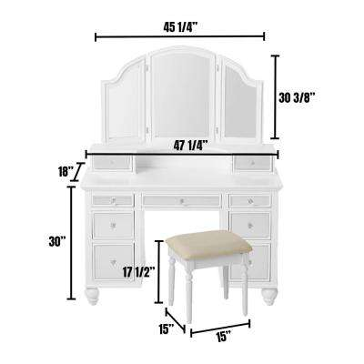William S Home Furnishing White Tracy Vanity Mirror And Stool Set With Contemporary Style Storage Drawers And 3 Mm Mirror Inserts Cm Dk6162wh The Home Depot