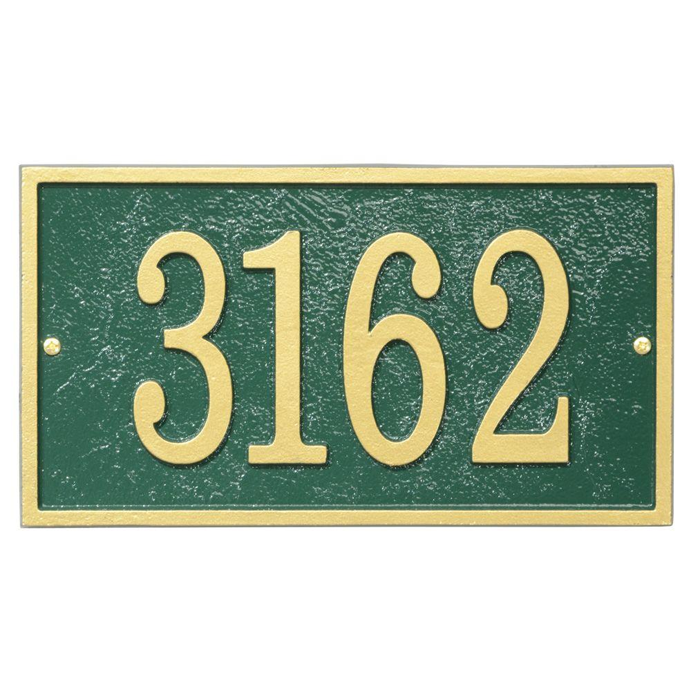 Fast and Easy Rectangle House Number Plaque, Green/Gold