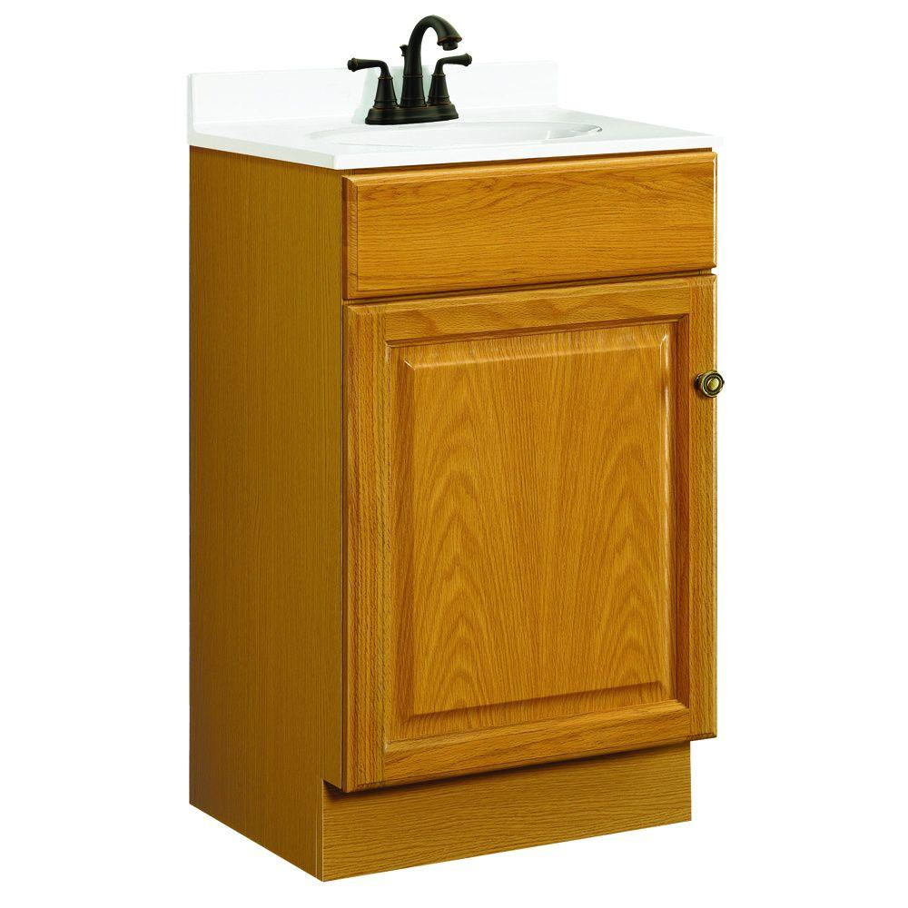 Design House Claremont 18 In W X 16 In D One Door Unassembled Vanity Cabinet Only In Honey Oak
