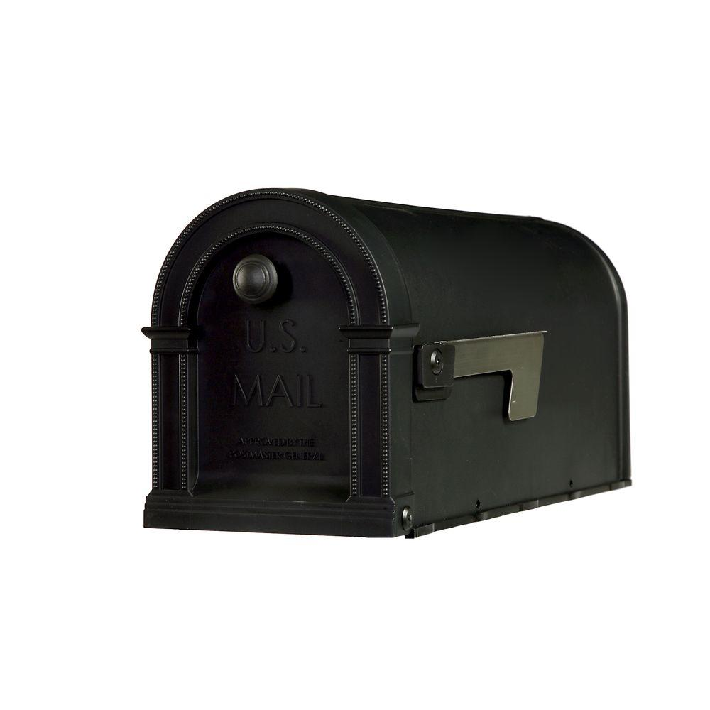 Lincoln Decorative Plastic Post-Mount Mailbox, Black