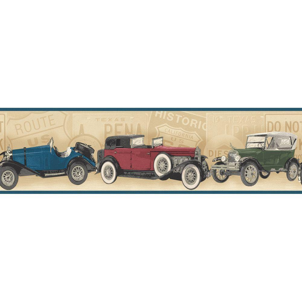 The Wallpaper Company 6.83 in. x 15 ft. Jewel Tone Antique Cars Border