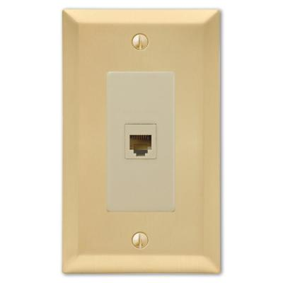 Metallic 1 Gang Phone Steel Wall Plate - Satin Brass