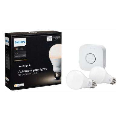 White A19 LED 60W Equivalent Dimmable Smart Wireless Lighting Starter Kit (2 Bulbs and Bridge)