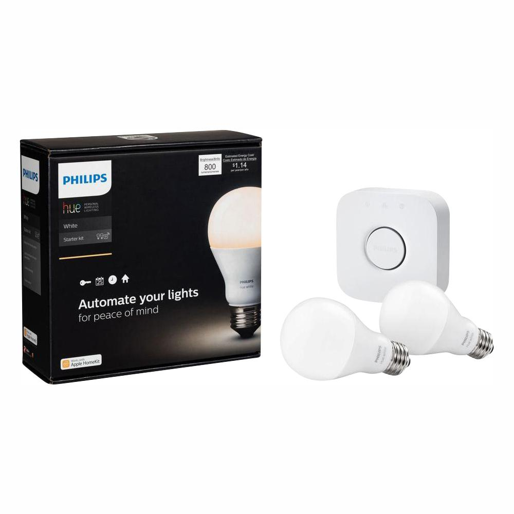 Hue White A19 Led 60w Equivalent Dimmable Smart Wireless Lighting Starter Kit 2 Bulbs And Bridge