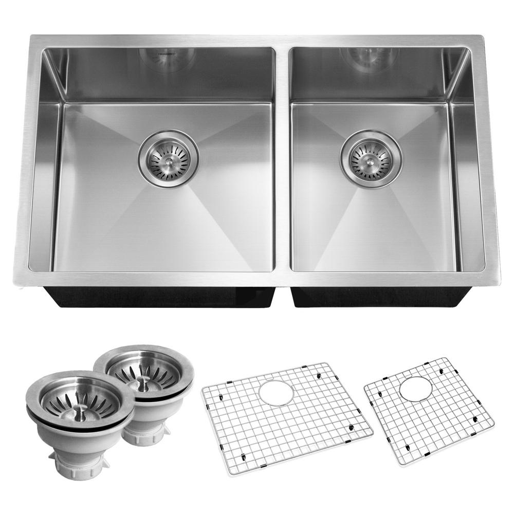 HOUZER Savoir Series Undermount Stainless Steel 32 In. Double Basin Kitchen  Sink, Satin Brushed