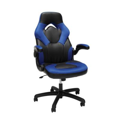 Essentials Collection Blue Racing Style Bonded Leather Gaming Chair (ESS-3085-BLU)