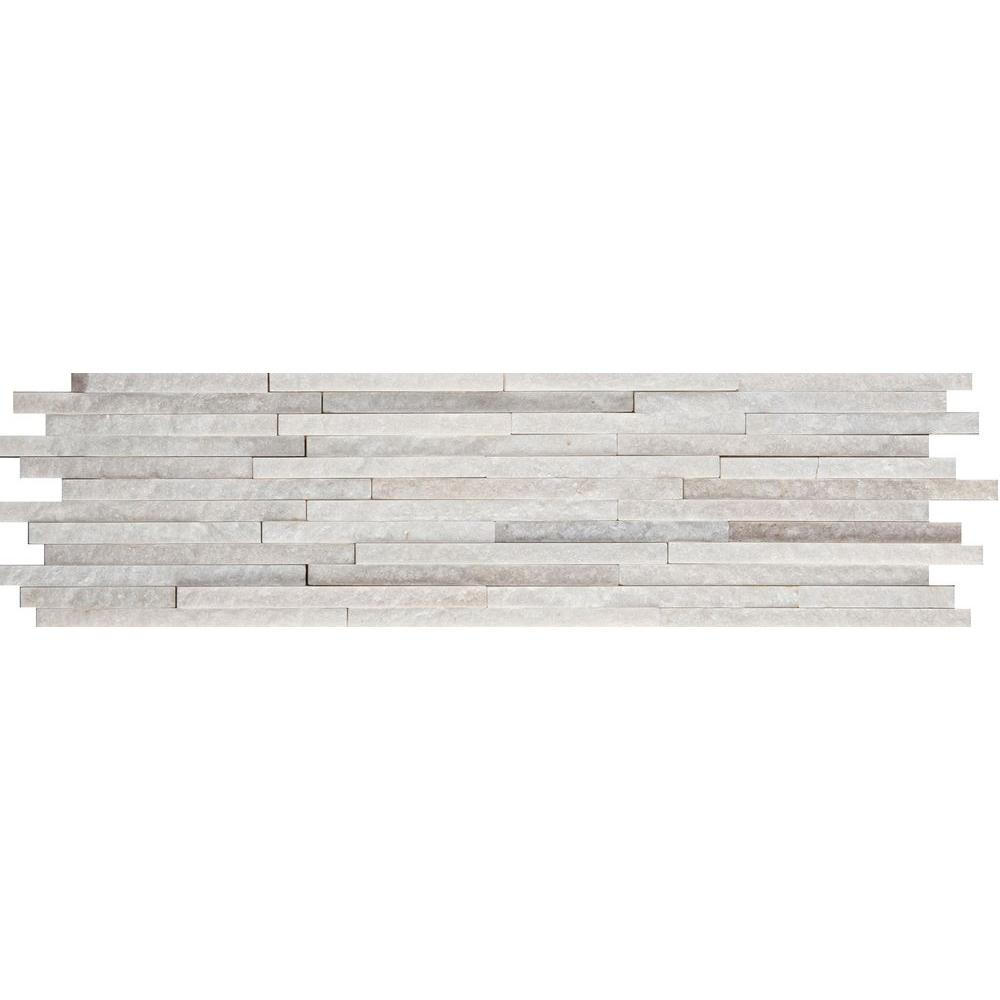 Emser White Mini Stacked 6 in. x 24 in. Quartzite Slate Floor and Wall Tile