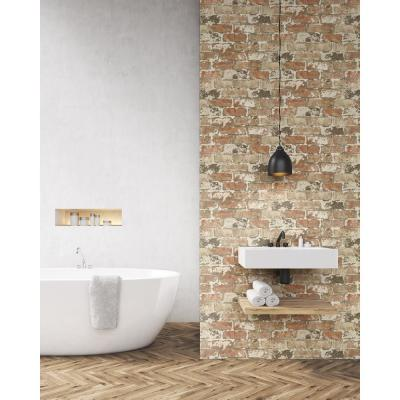 18 ft. x 20.5 in. Washed Red Brick Peel and Stick Wallpaper