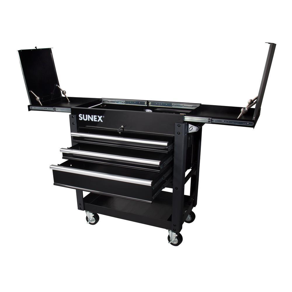 SUNEX 37 in. 3-Drawer Slide Top Utility Cart in Black