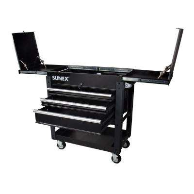 37 in. 3-Drawer Slide Top Utility Cart in Black