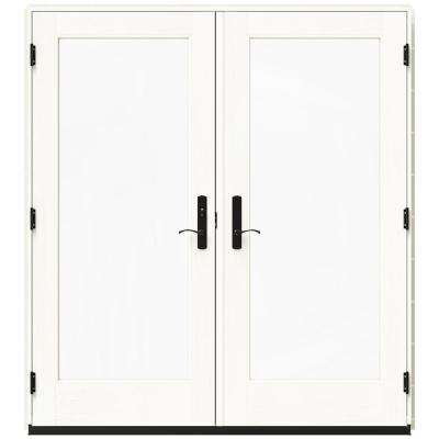 72 in. x 80 in. W-4500 Vanilla Clad Wood Right-Hand Full Lite French Patio Door w/White Paint Interior