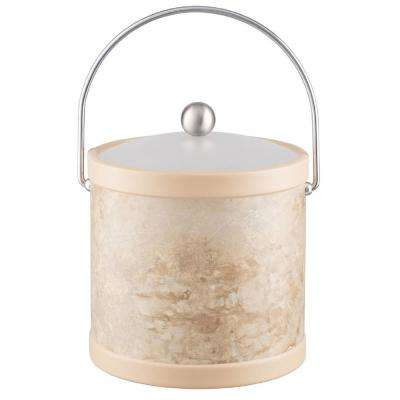 Sand Stone 3 Qt. Tan Ice Bucket with Bale Handle and Acrylic Lid