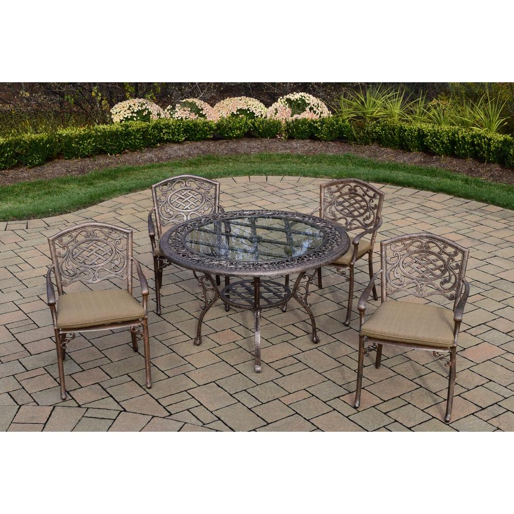 Mississippi 5-Piece Aluminum Outdoor Dining Set with Sunbrella Beige Cushions