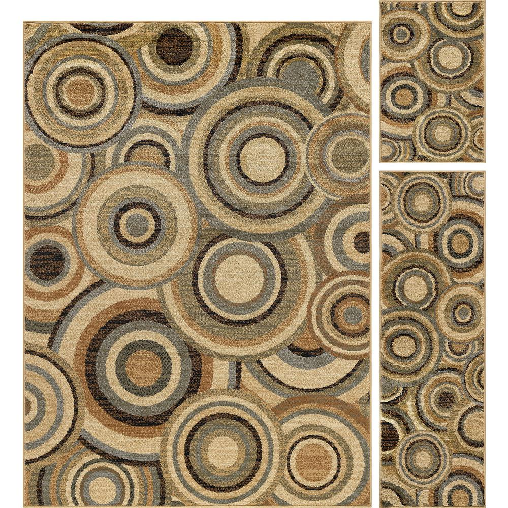 Tayse Rugs Elegance Multi 5 Ft X 7 3 Piece Rug Set 5382 Pc The Home Depot