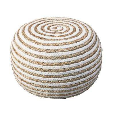 Jute Spiral Natural and White Indoor Ottoman