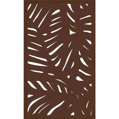 5 ft. x 3 ft. Espresso Brown Composite Framed Modinex Decorative Fence Panel Featured in the Palm Design