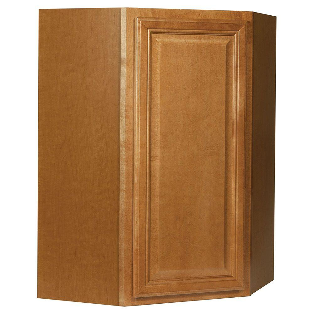 Hampton bay cambria assembled 24x36x12 in diagonal corner for Home depot kitchen cabinet promotions