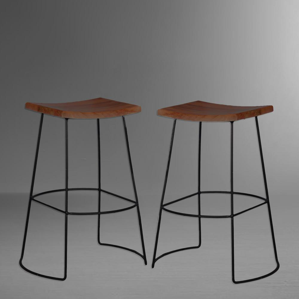 Carolina Cottage Reece 30 In Black And Chestnut Bar Stool