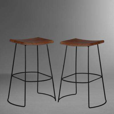 Reece 30 in. Black and Chestnut Bar Stool (Set of 2)