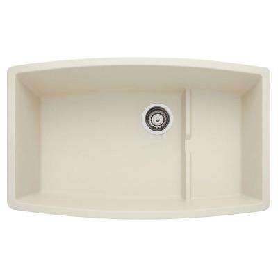 PERFORMA Undermount Granite Composite 32 in. 0-Hole Cascade Super Single Bowl Kitchen Sink in Biscuit