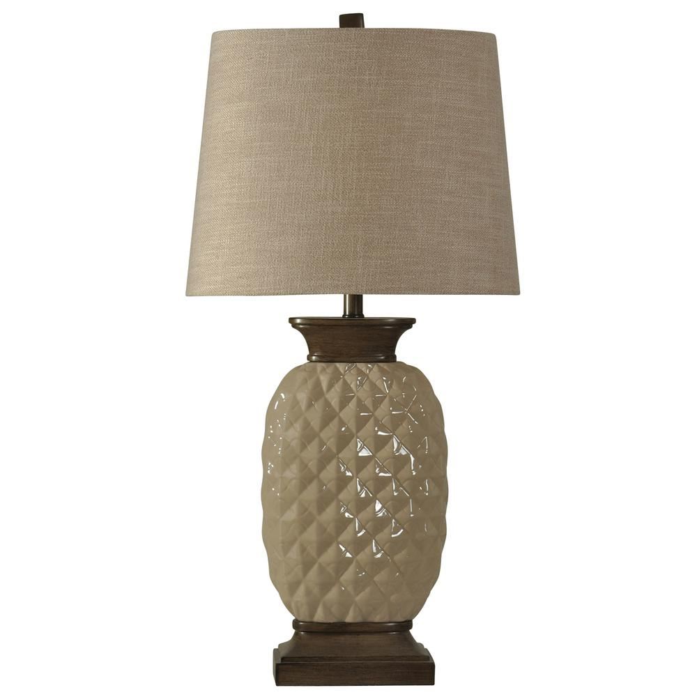 Stylecraft 33 In Dark Wood And Off White Table Lamp With