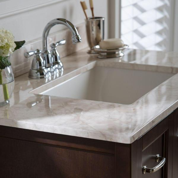 Home Decorators Collection 37 In W X 22 In D Stone Effects Vanity Top In Dune With White Sink Ser37 Dn The Home Depot
