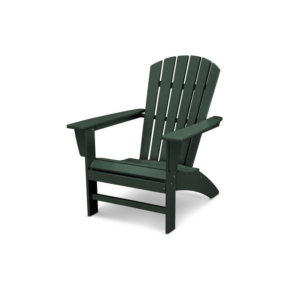 Traditional Curveback Green Plastic Outdoor Patio Adirondack Chair