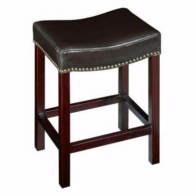 24 in. Dark Brown Cushioned Curved Nailhead Counter Stool