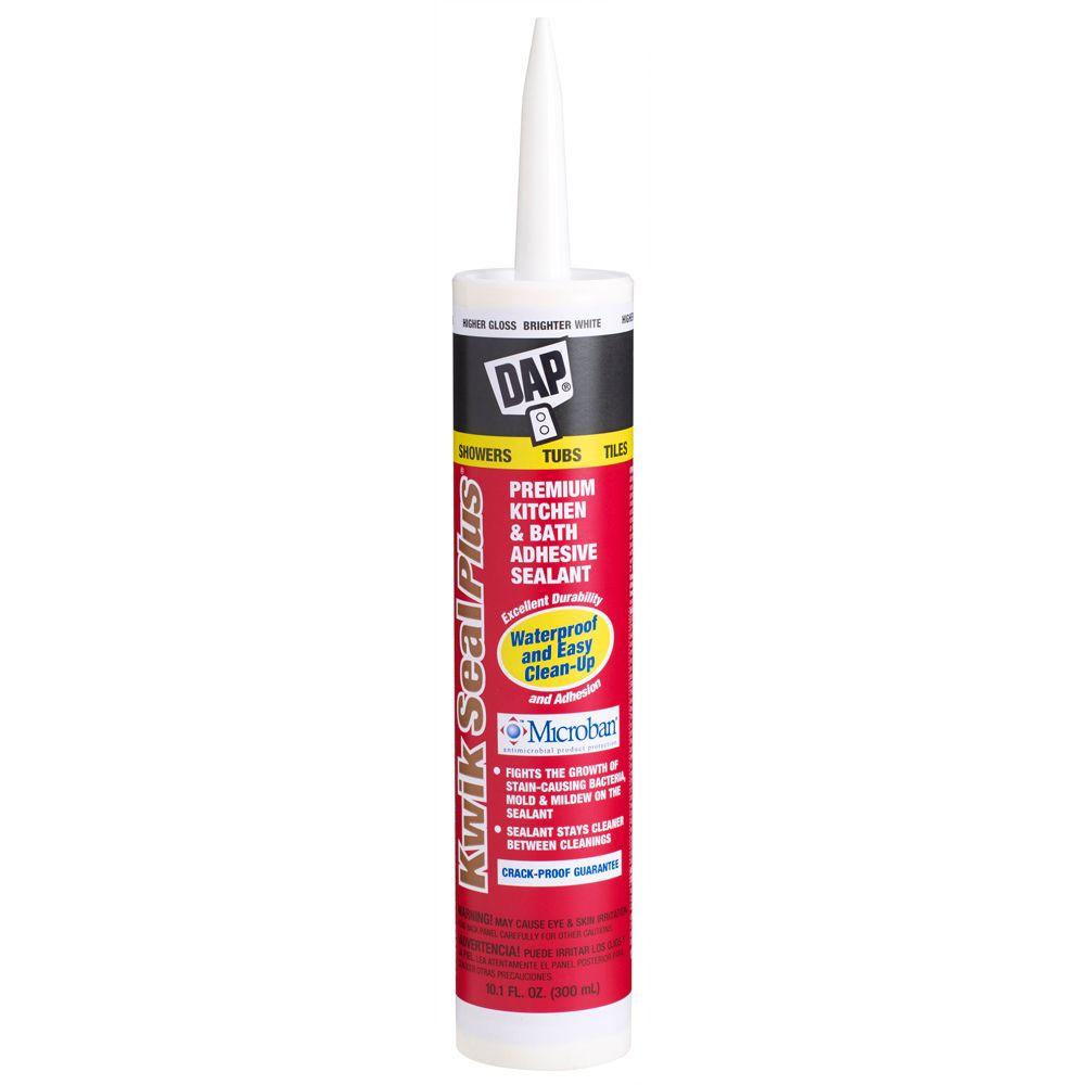DAP Kwik Seal Plus 10.1 oz. White Kitchen and Bath Adhesive Caulk ...