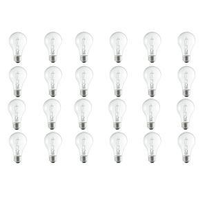 100-Watt Equivalent A19 Dimmable Clear Glass Eco Incandescent Light Bulb (Halogen) Soft White (2990K) (24-Pack)