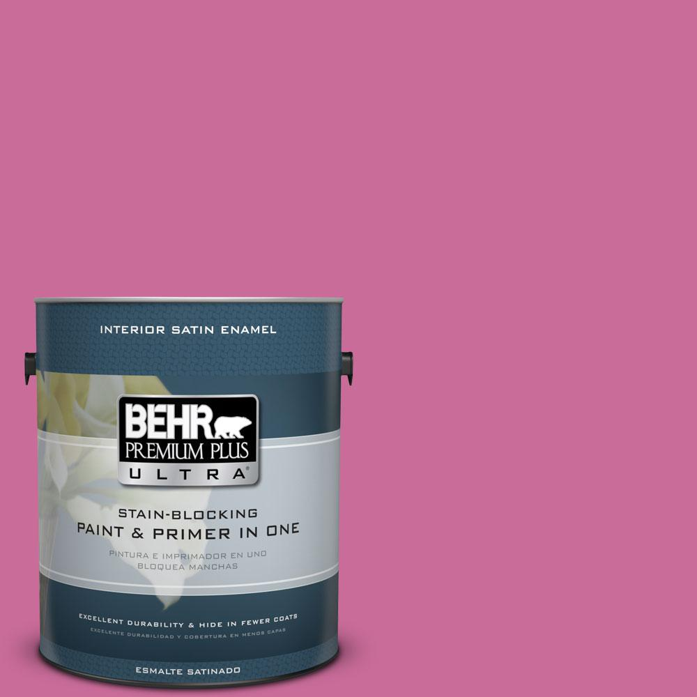 BEHR Premium Plus Ultra 1-gal. #100B-6 Fuchsia Kiss Satin Enamel Interior Paint