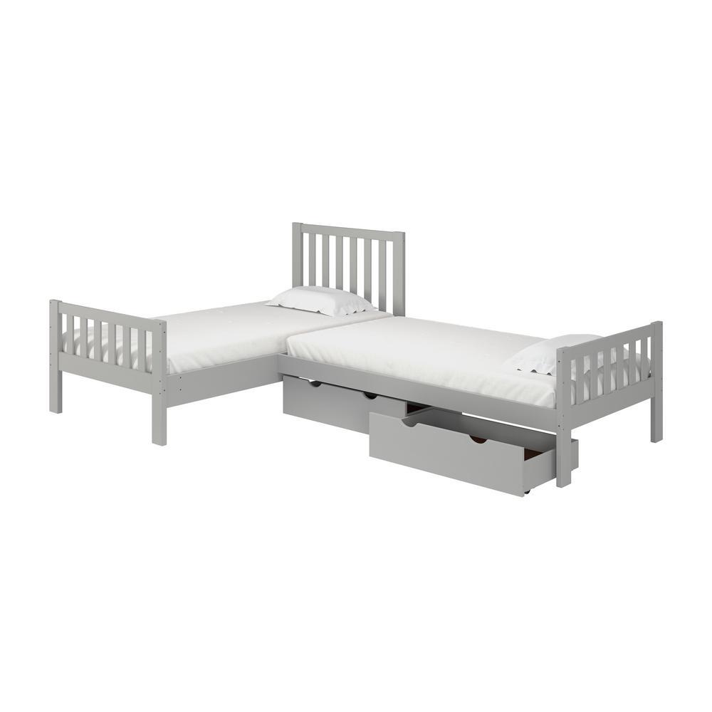 Aurora Dove Gray Twin Corner Twin Wood Bed with Storage Drawers