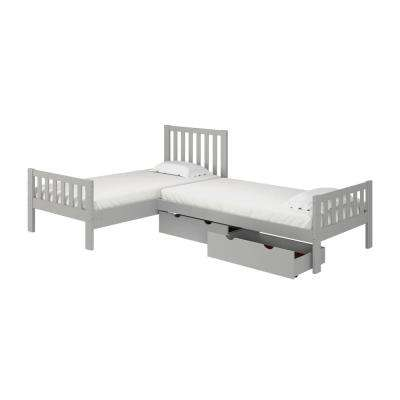 Aurora Dove Gray Twin Corner Twin Wood Bed with Storage Drawers