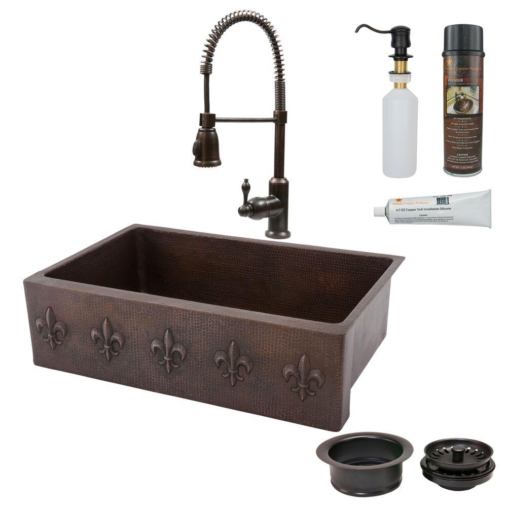 Premier Copper Products All-in-One Undermount Copper 33 in. 0-Hole Single Bowl Kitchen Sink with Fleur De Lis Design in Oil Rubbed Bronze