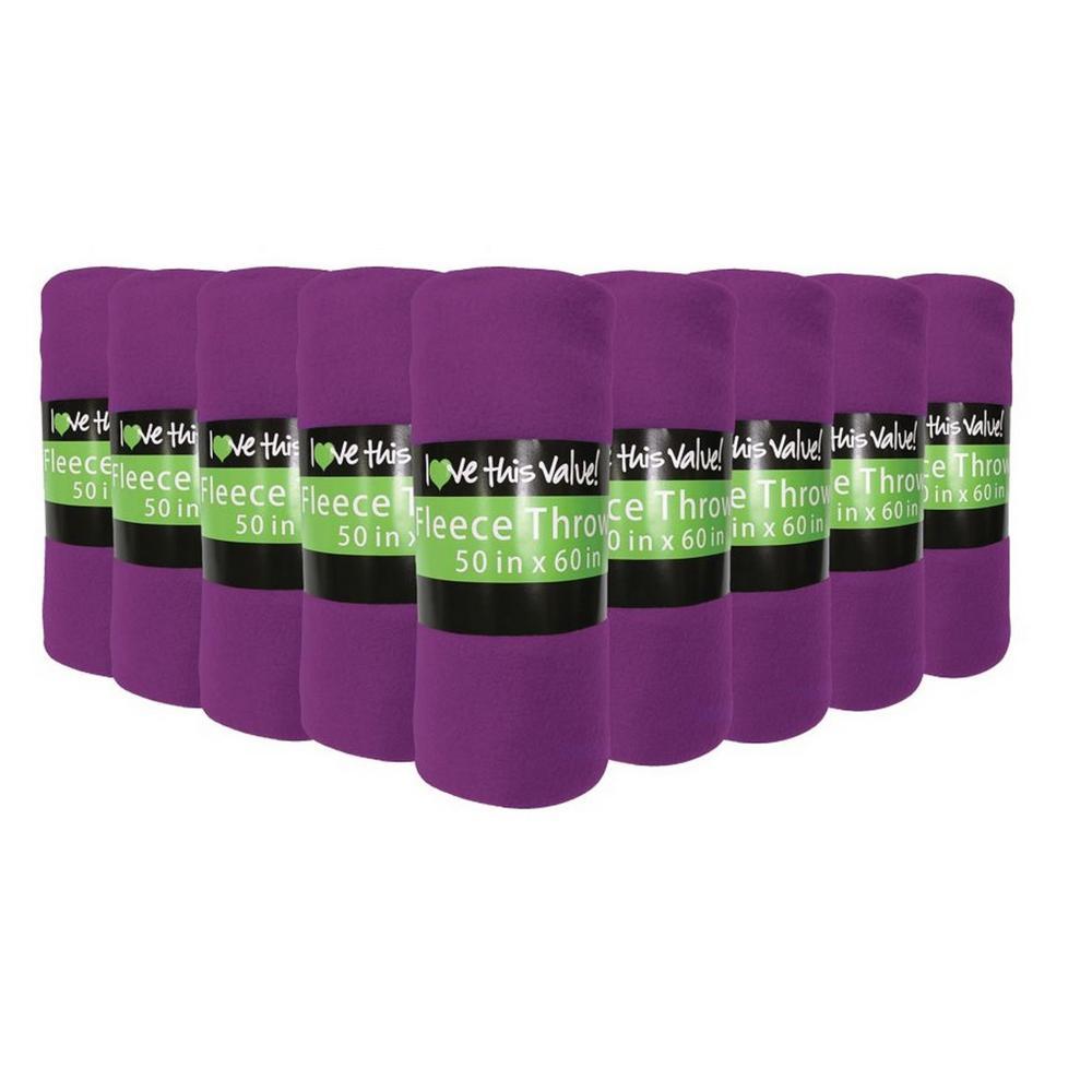 50 in. x 60 in. Purple Super Soft Fleece Throw Blanket (12-Pack)