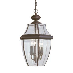 Lancaster 3-Light Antique Bronze Outdoor Hanging Pendant with Dimmable Candelabra LED Bulb