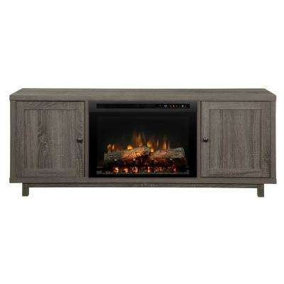 Jesse 65 in. Media Console in Iron Mountain Grey with 26 in. Electric Fireplace with Logs