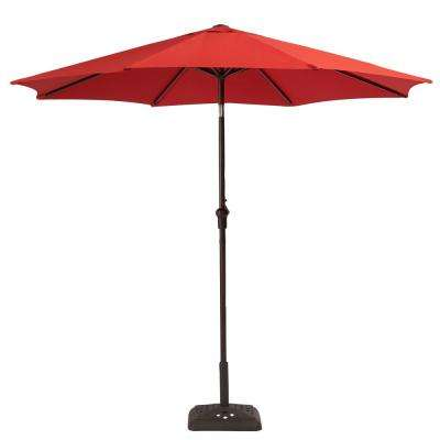 Steel Crank And Tilt Patio Umbrella In Ruby