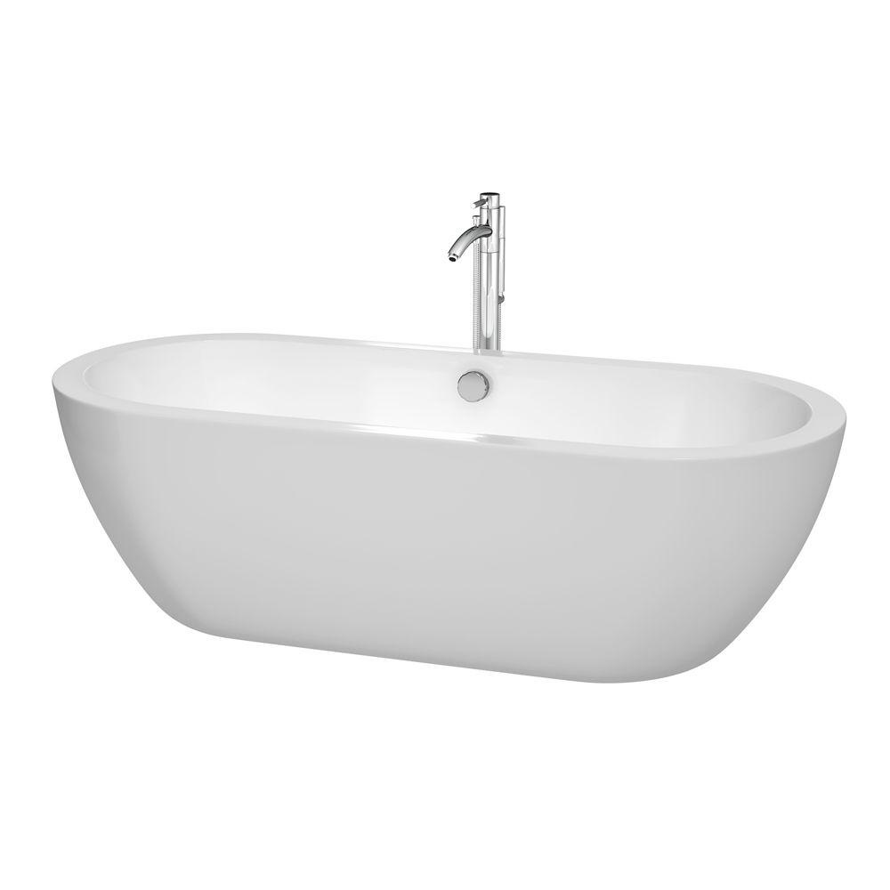 Wyndham Collection Soho 71.5 in. Acrylic Flatbottom Center Drain Soaking Tub in White with Polished Chrome Floor Mounted Faucet