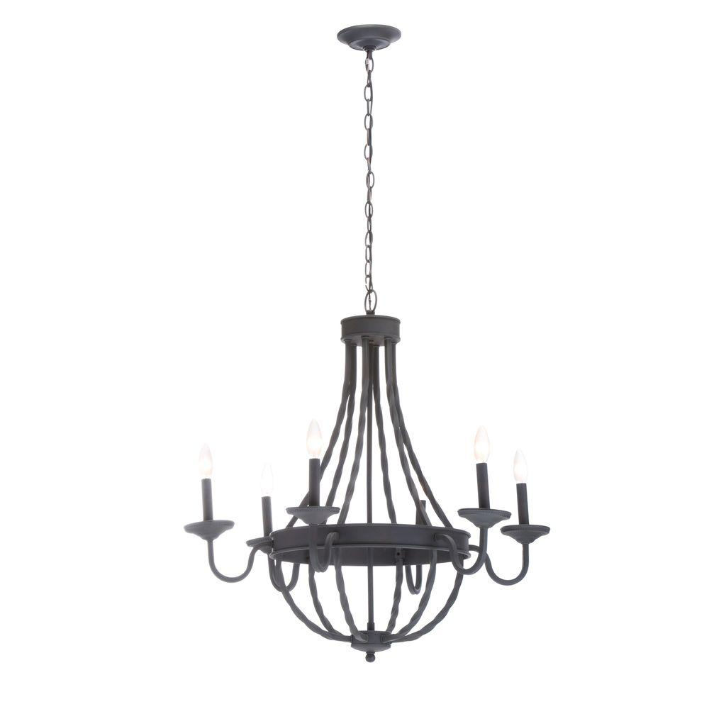 Hampton Bay Barcelona 6 Light Rustic Iron Chandelier