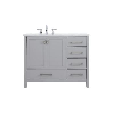 Timeless Home 42 in. W x 22 in. D x 34 in. H Single Bathroom Vanity in Gray with White Quartz with White Basin