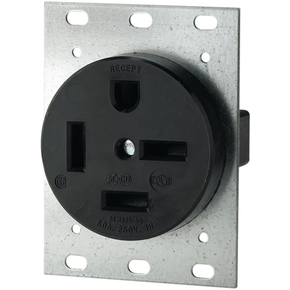 eaton 60 amp 250 volt 15 60 3 pole  4 wire power receptacle Wiring 480 3 Phase Welding Plug black eaton outlets receptacles 8460n 64 1000