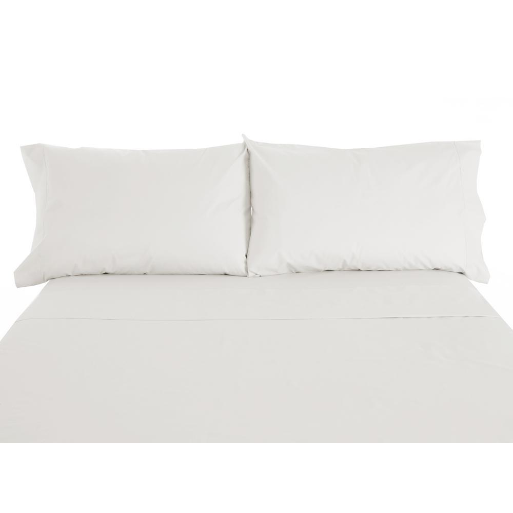 600 Twill 6 Piece Ivory Cotton Polyester Full Sheet Set