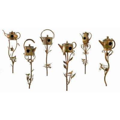 Tea Pot Birdhouse Garden Stakes (Set of 6)