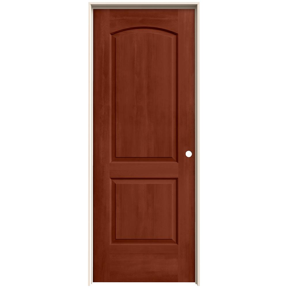 Jeld Wen 28 In X 80 In Continental Amaretto Stain Left Hand Molded Composite Mdf Single