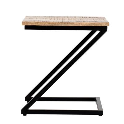 Lilly Designer Z-Black and Natural Wood Color Mango Wood Side Table