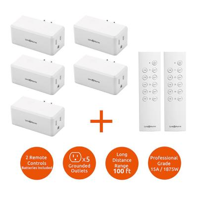 Wireless Indoor Remote Control Outlet Switch with 5 RCVs and 2 Remotes
