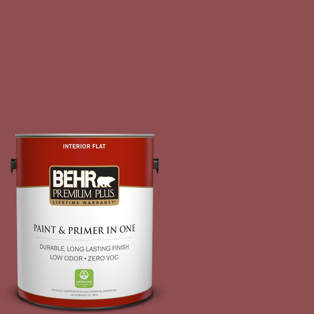 1 gal. #PPU1-08 Pompeian Red Zero VOC Flat Interior Paint
