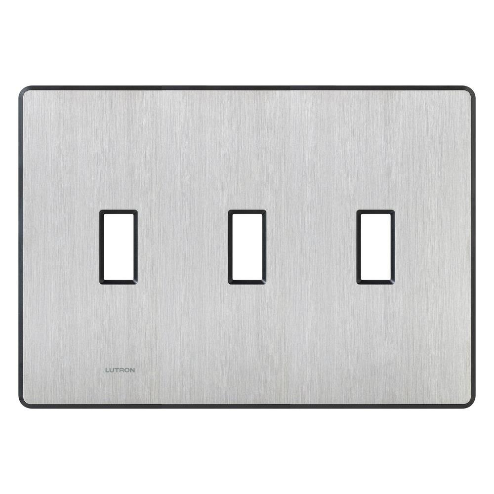Lutron Fassada 3 Gang Toggle Wall Plate - Stainless Steel